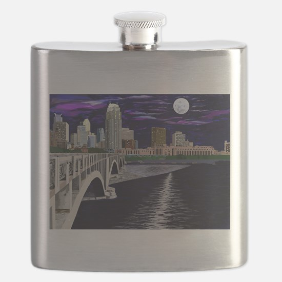 Moon Over Minneapolis Flask