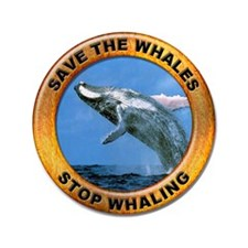 """Save Whales Stop Whaling 3.5"""" Button"""