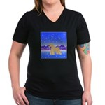 Soft Coated Wheaten Women's V-Neck Dark T-Shirt