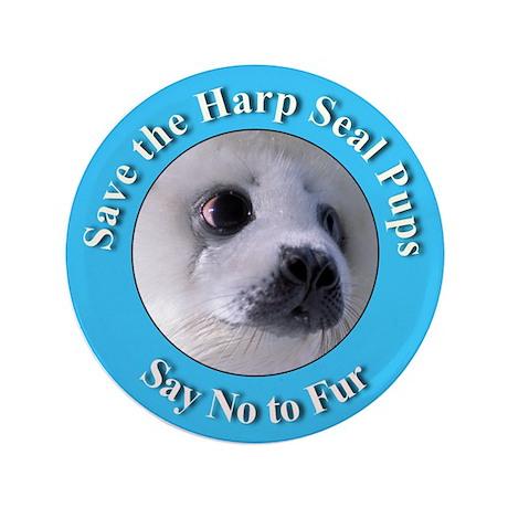 "Anti-Fur Harp Seal Pup 3.5"" Button"