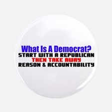 """What Is A Democrat?"" 3.5"" Button"