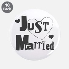 "Just Married Black 3.5"" Button (10 pack)"