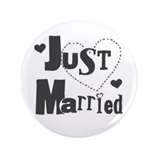 "Just Married Black 3.5"" Button"