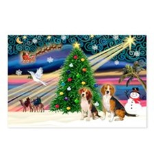 Xmas Magic & Beagle pair Postcards (Package of 8)