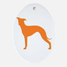 Greyhound Two Orange 1C Oval Ornament