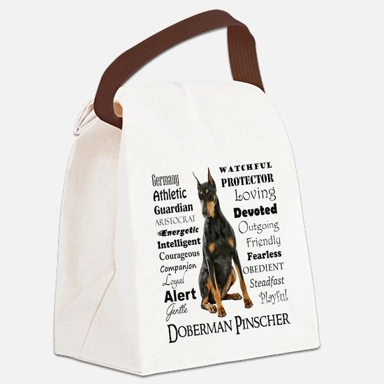 Doberman Traits Canvas Lunch Bag