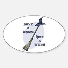Ride a Witch Halloween Oval Decal
