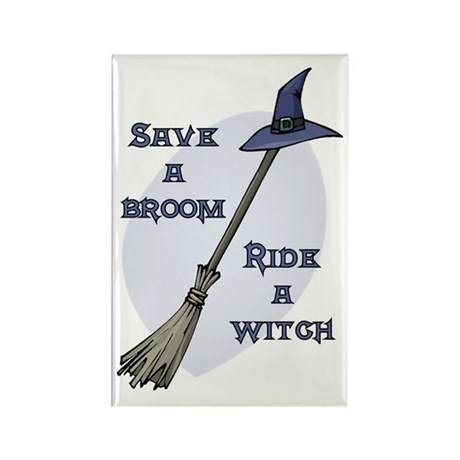 Ride a Witch Halloween Rectangle Magnet (10 pack)