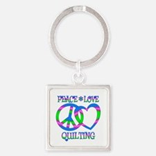 Peace Love Quilting Square Keychain