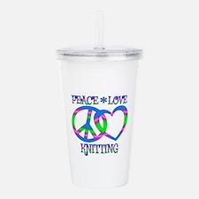 Peace Love Knitting Acrylic Double-wall Tumbler