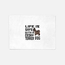 Life Is Safe With A Cesky Terrier 5'x7'Area Rug