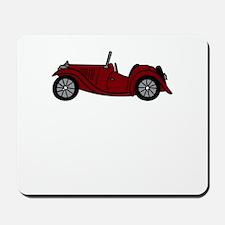 Burgundy Maroon MGTC Car Cartoon Mousepad