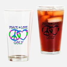 Peace Love Golf Drinking Glass