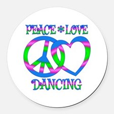 Peace Love Dancing Round Car Magnet