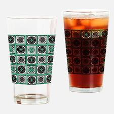 Green Crazy Quilt Drinking Glass