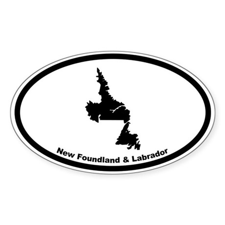 New Foundland Canada Outline Oval Sticker
