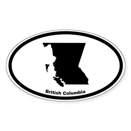 British Columbia Canada Outline Oval Sticker