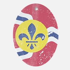 Vintage Grunge Flag of St Louis Miss Oval Ornament