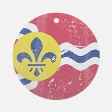 Vintage Grunge Flag of St Louis Mis Round Ornament