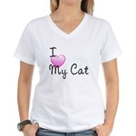 I Love My Cat Women's V-Neck T-Shirt