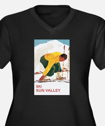 Ski Sun Valley Idaho Women's Plus Size V-Neck Dark