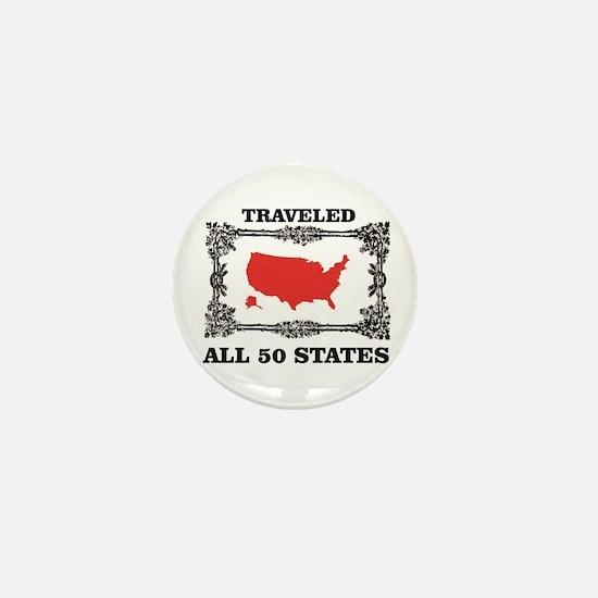 red traveled USA Mini Button