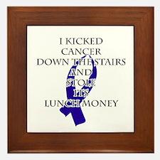Cancer Bully (Dark Blue Ribbon) Framed Tile
