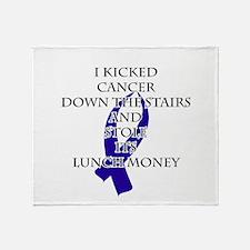 Cancer Bully (Dark Blue Ribbon) Throw Blanket