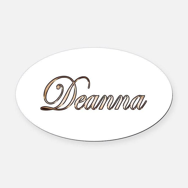 Gold Deanna Oval Car Magnet