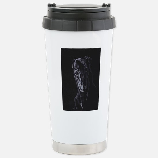 Black greyhound silhouette Travel Mug