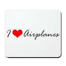 I Heart Airplanes Mousepad