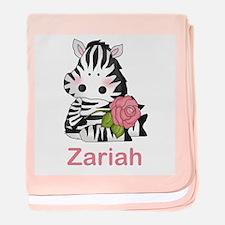 Zariah's Zebra Rose baby blanket