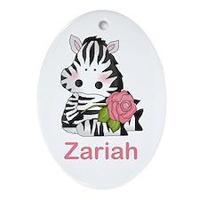 Zariah's Zebra Rose Oval Ornament