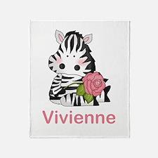 Vivienne's Zebra Rose Throw Blanket