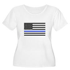 Flag Thin Blue Line Plus Size T-Shirt