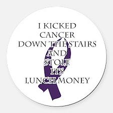 Cancer Bully (Purple Ribbon) Round Car Magnet