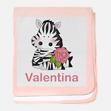 Valentina's Zebra Rose baby blanket