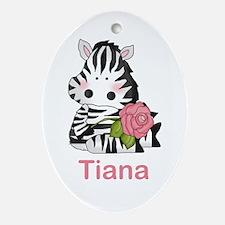 Tiana's Zebra Rose Oval Ornament