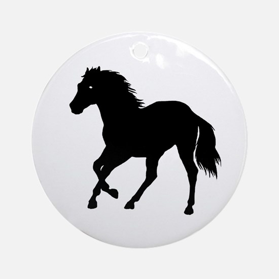 Go West Go Mustang Ornament (Round)