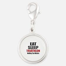 Eat Sleep Triathlon Silver Round Charm