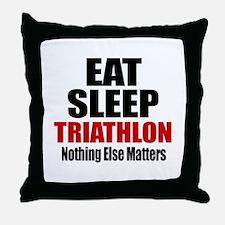 Eat Sleep Triathlon Throw Pillow