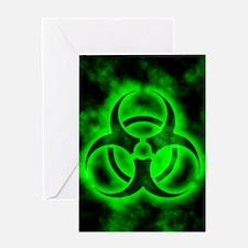 Green Biohazard Symbol Greeting Cards