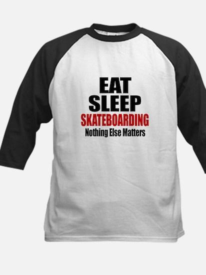 Eat Sleep Skateboarding Kids Baseball Jersey