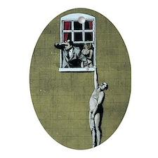 Banksy graffiti art  Oval Ornament