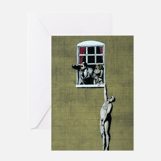 Banksy graffiti art Greeting Card
