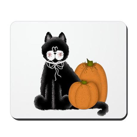 Black Cat w/Pumpkins 2 Mousepad