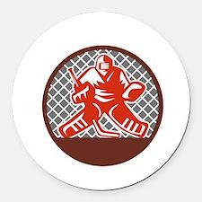 Ice Hockey Goalie Circle Retro Round Car Magnet