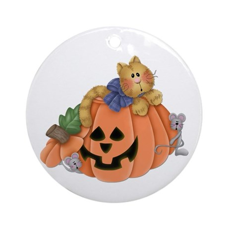 Cute Cat & Mice w/Pumpkin Ornament (Round)