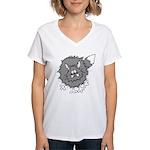 Frazzled Cat Women's V-Neck T-Shirt