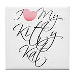 I Love My Kitty Kat Tile Coaster